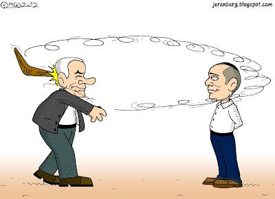 binyamin bibi netanyahu throwing negative ads advertisements boomerang at naftali bennett missing looping around hitting himself in back of head
