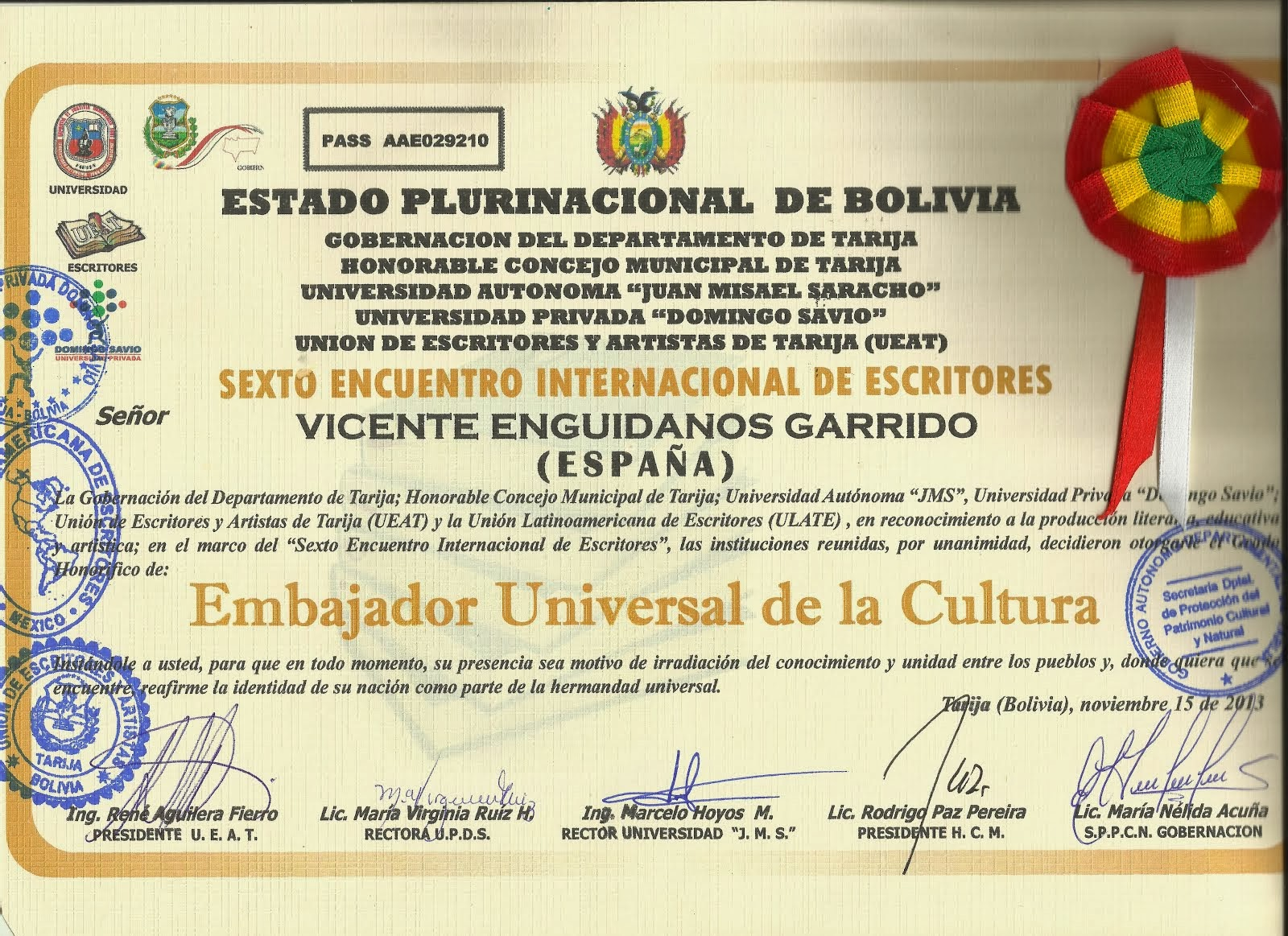 EMBAJADOR UNIVERSAL DE LA CULTURA