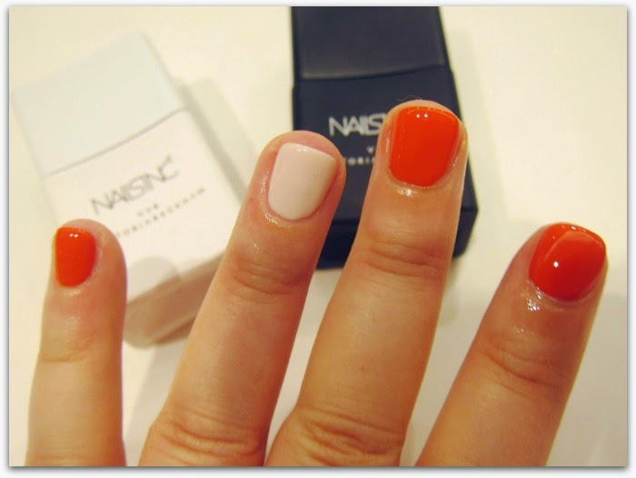 Victoria Beckham Nails Inc Polish Bamboo White and Judo Red
