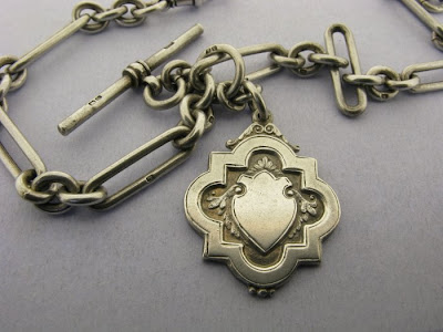 Antique Silver Double Albert Fetter Link Watch Chain T-Bar & Fob 54gr Bir 1920