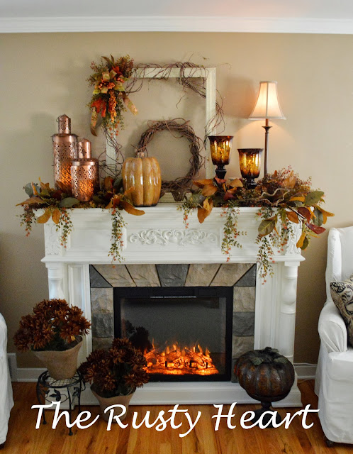 fall mantel with twigs