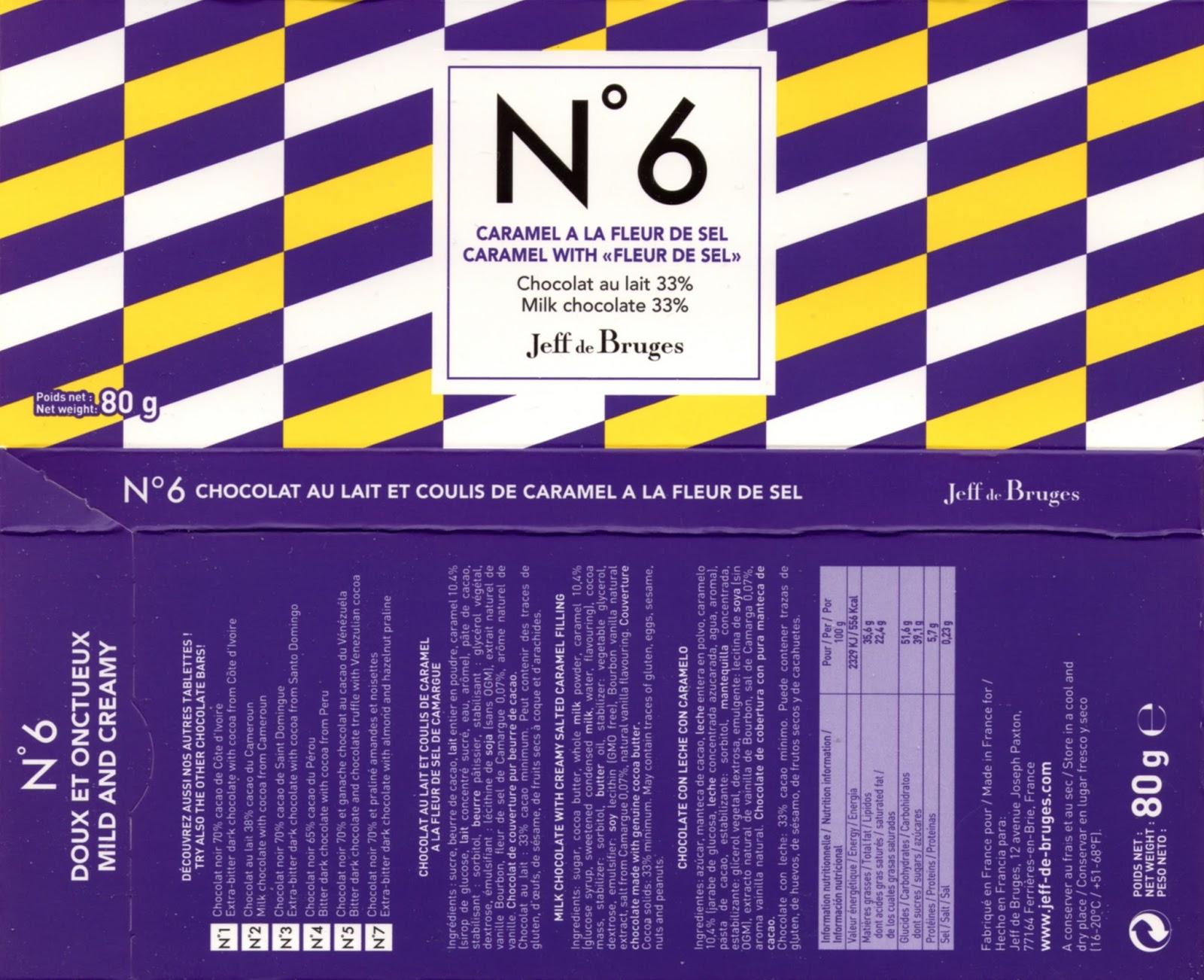 tablette de chocolat lait gourmand jeff de bruges n° 6 coulis de caramel à la fleur de sel 33