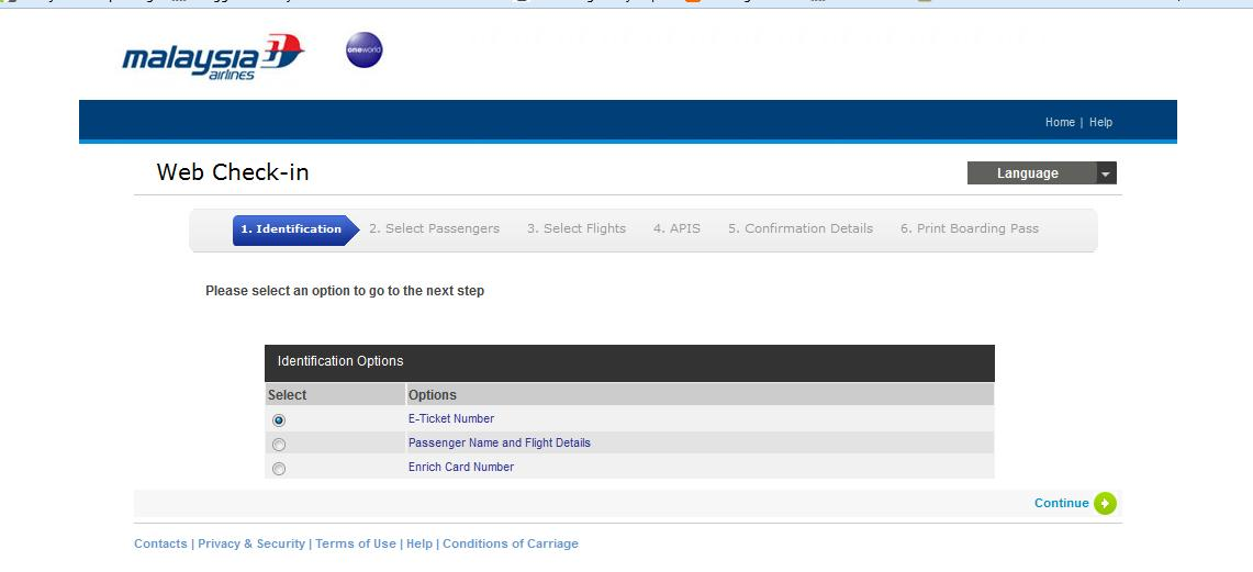 Jom Web Check in @Malaysia Airlines