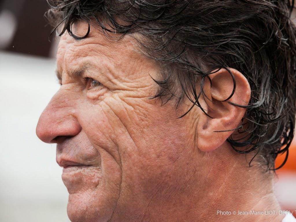 Jean Le Cam à une semaine du départ de la Barcelona World Race avec Bernard Stamm.