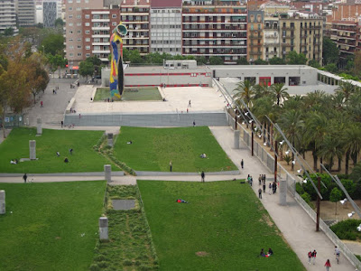 Joan Miro park from the dome of Las Arenas shopping mall