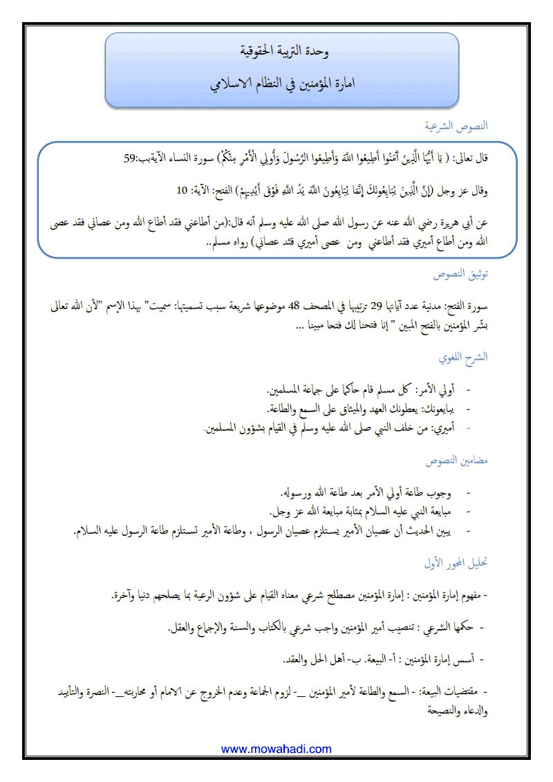 امارة المؤمنين في النظام الاسلامي