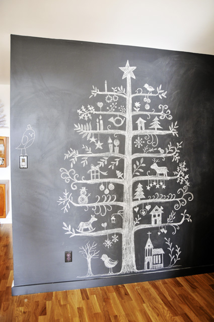 Chalkboard Christmas tree | 15 Christmas Tree Alternatives for Small Spaces
