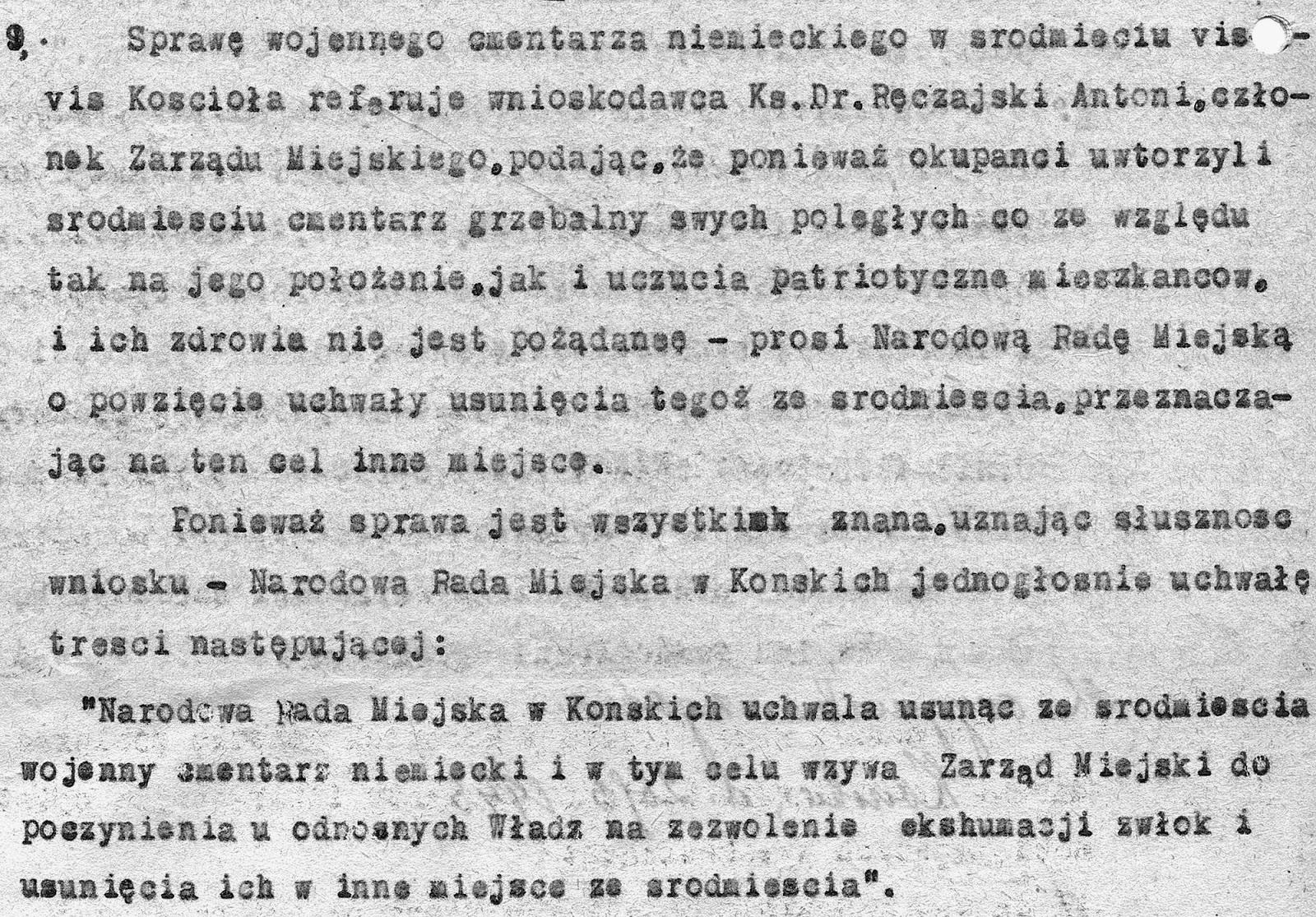 """Dotyczący cmentarza fragment w """"Protokole posiedzenia Narodowej Rady Miejskiej w Końskich odbytego w dniu 13 marca 1945"""" (ze zbiorów KW)."""