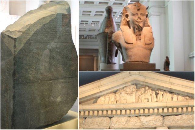 Piedra Rosetta, busto egipcio, detalle de templo griego en el British Museum, Museo Britanico en Londres