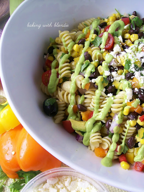 Southwestern Pasta Salad With Creamy Avocado Dressing