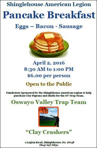 4-2 Pancake Breakfast, Shinglehouse Legion