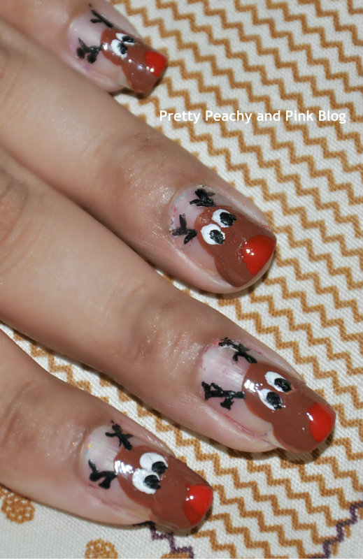 REINDEER MANICURE using fine tip nail art brush