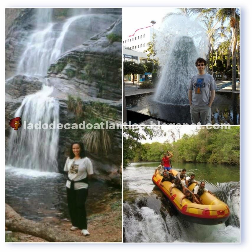 Imagem de mosaico com fotos de viagem em cachoeira em Barão de Cocais/MG, vulcão de água do Parque das Nações/Lisboa e rafting em Bonito/MS