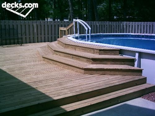 Decoration prefabricated pools - Above ground pool steps for decks ...