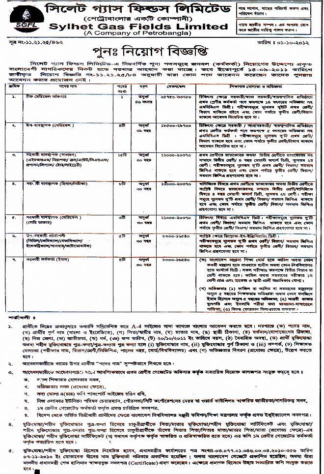 All Newspaper Jobs Sylhet Gas Fields Limited Post Chief Medical