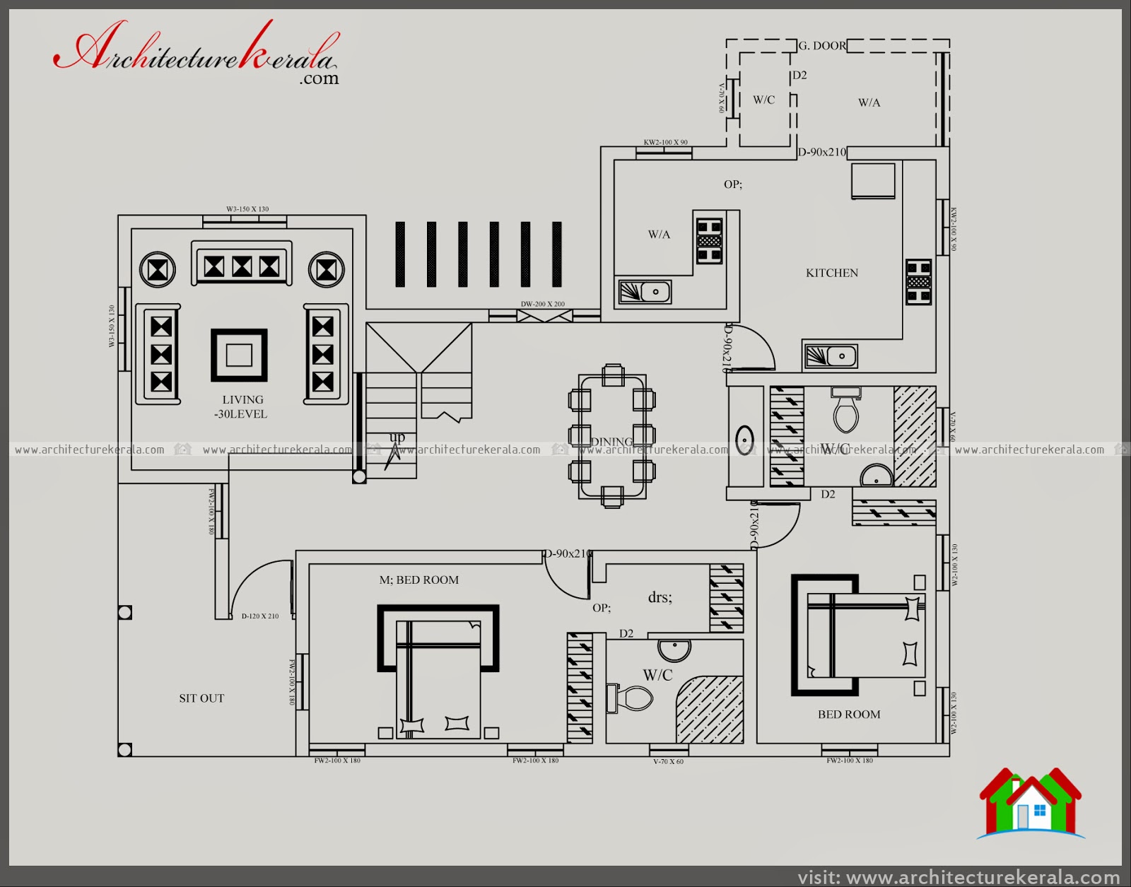 Five bedroom house plan image and elevation architecture for Kerala house plans 3000 sq ft