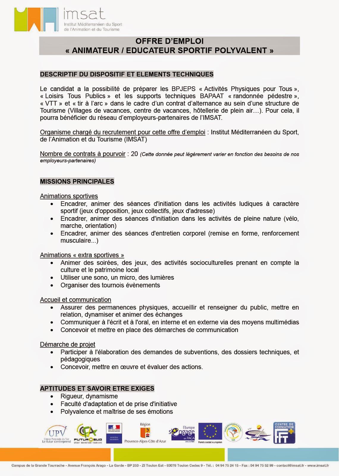 Mission Locale de la Seyne sur Mer: Offre d'emploi - IMSAT ...