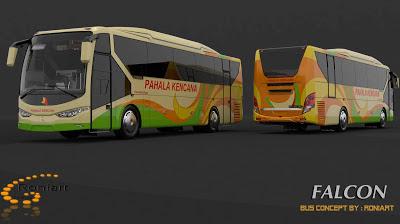 Design bus 3D Falcon PO Pahala Kencana Livery
