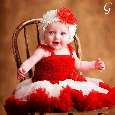 Cute Smile-Red-Frocks-Babies Pictures