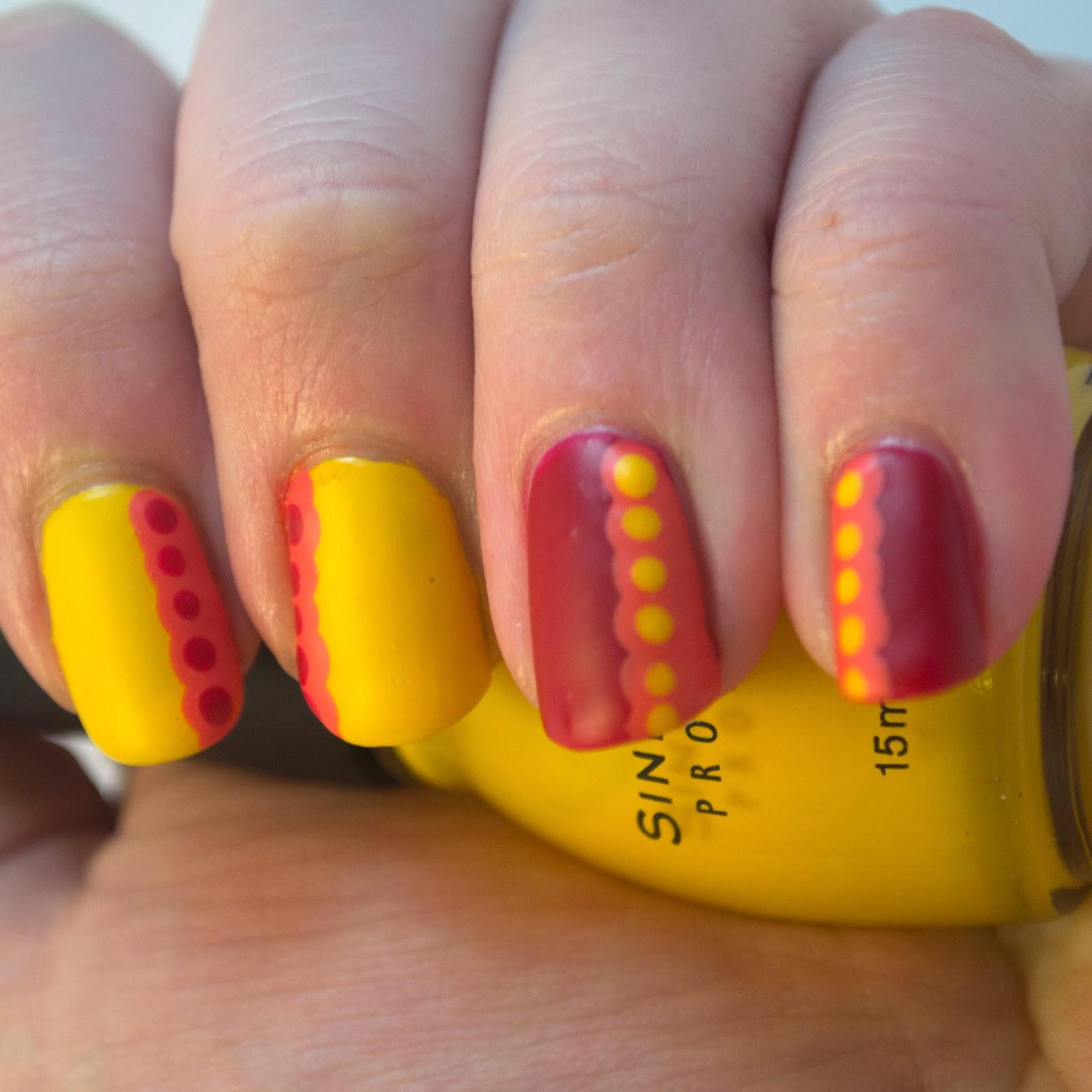 nails, nail polish, nail art, red, orange, yellow, dots, ruffles, hey darling polish, tri polish challenge, tpc