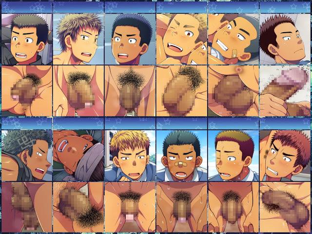 Jikan o teishi shite dokyusei ya senpai-tachi ni itazura shi chaou!, Time Stopped, Lunatique, yaoi, CG, color, Muscle, Big penis, student,