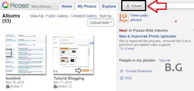 cara upload gambar blog melalui picasa web
