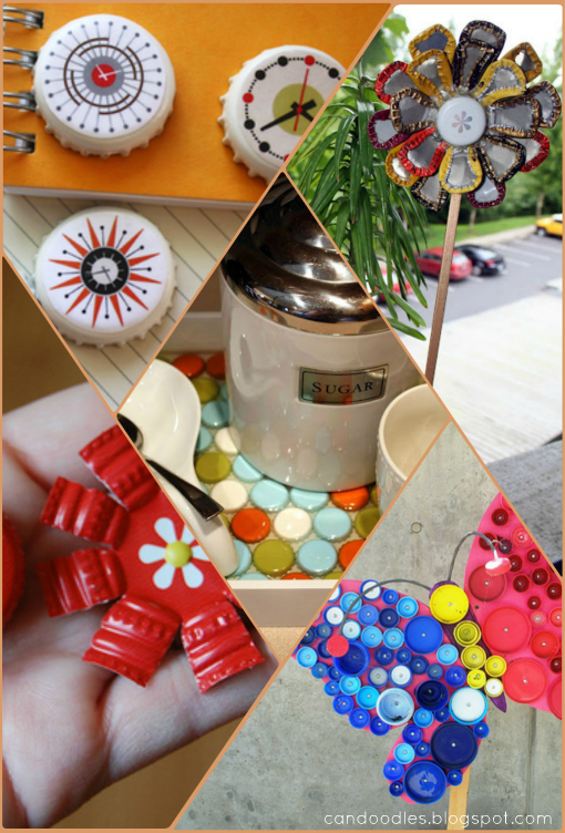 repurpose bottle cap decorating the refab diaries