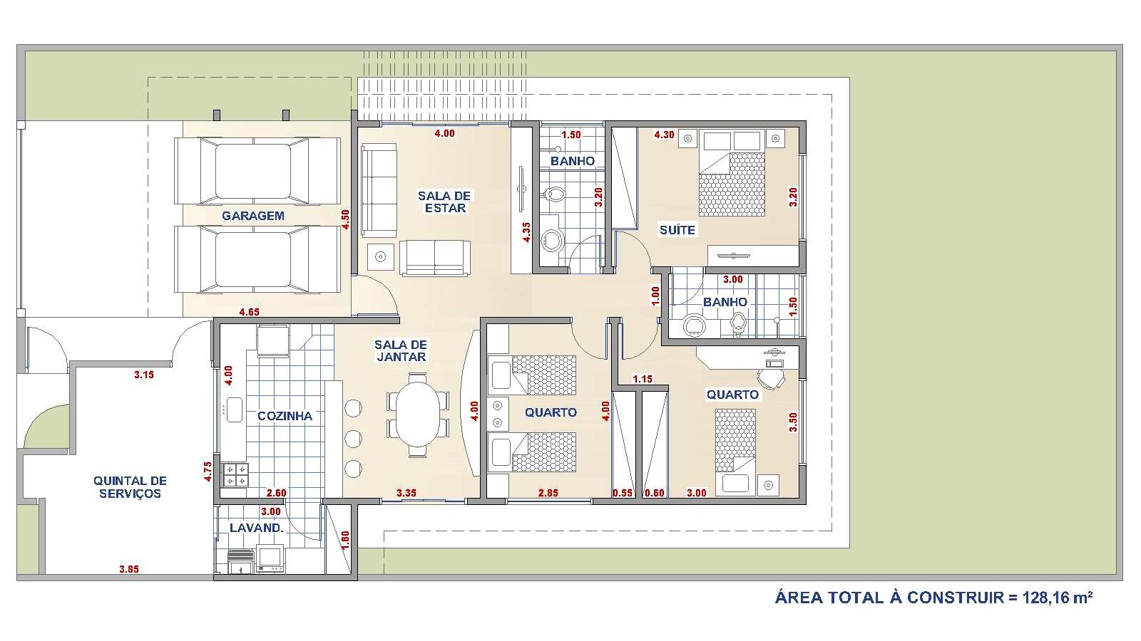 Loja de Projetos: CASA TÉRREA COM 3 QUARTOS RESIDÊNCIA QE3 #953A36 1600 900