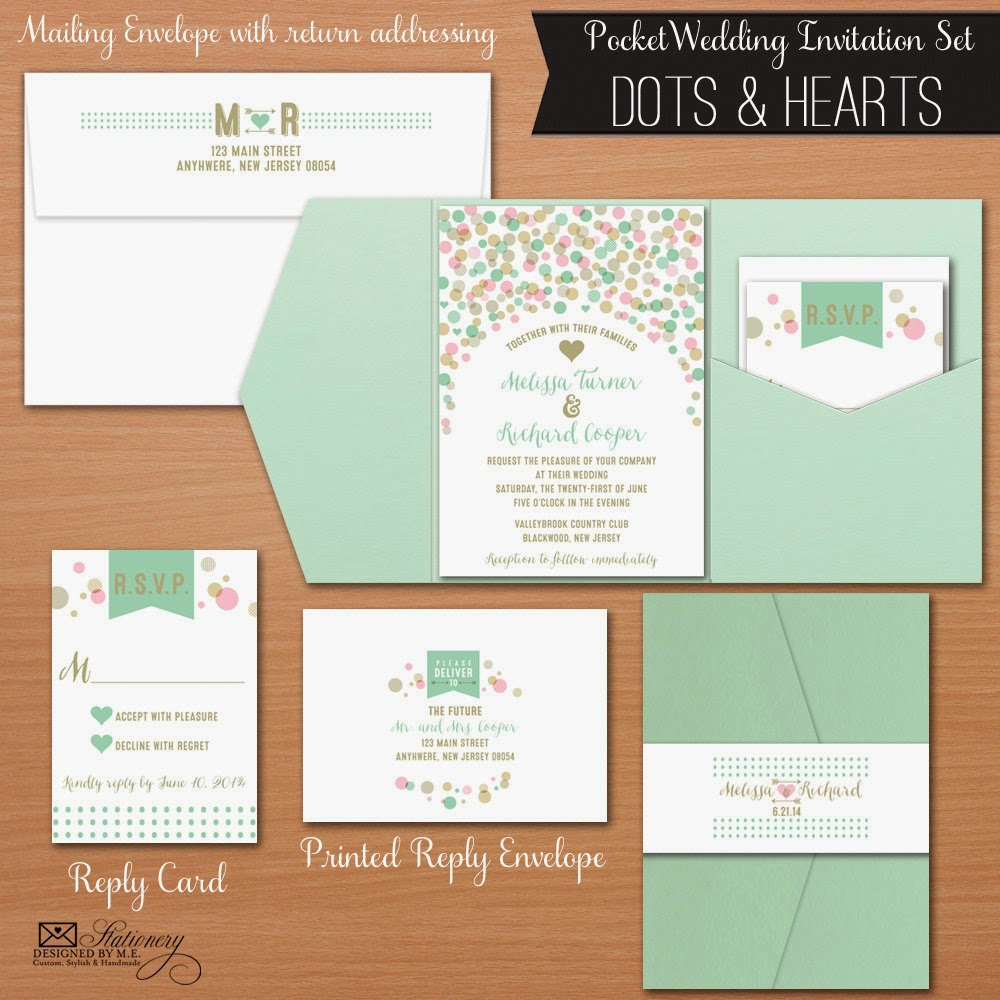 Pocket Fold Wedding Invitations - Whimsical Dots & Hearts