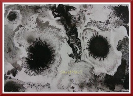 dibujo abstracto en blanco y negro con tinta china