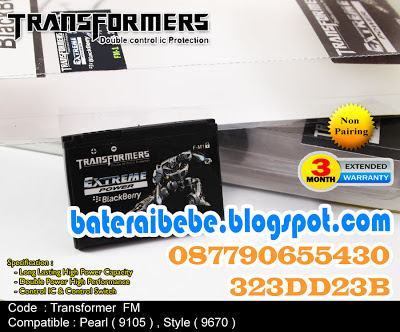 Baterai Blackberry Double Power FM1 Transformer Pearl 3G 9100/9105