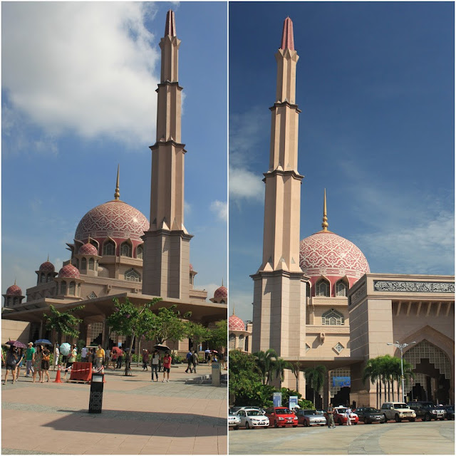 Masjid Putra or Putra Mosque was taken from different angle from the main street of roundabout at Putrajaya, Malaysia