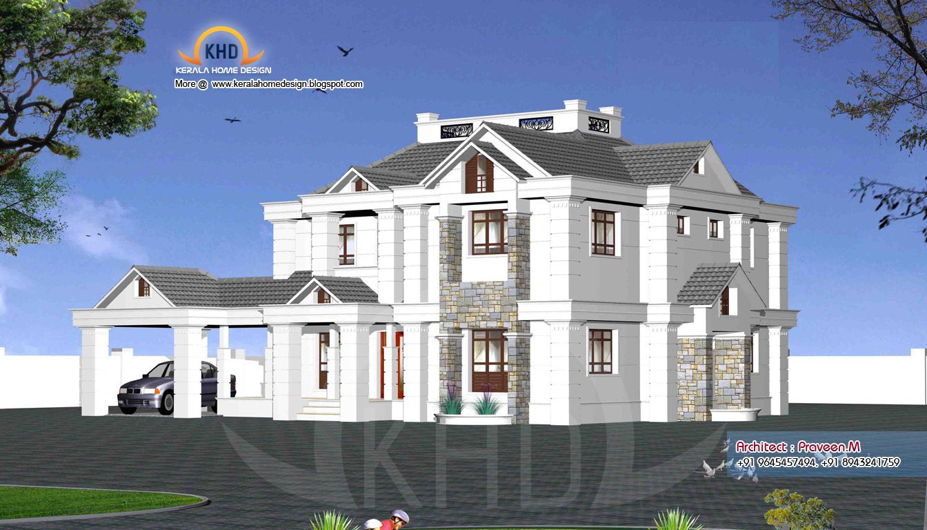 Rendering of home elevation exteriors kerala home design and floor plans - Sweet home design ...