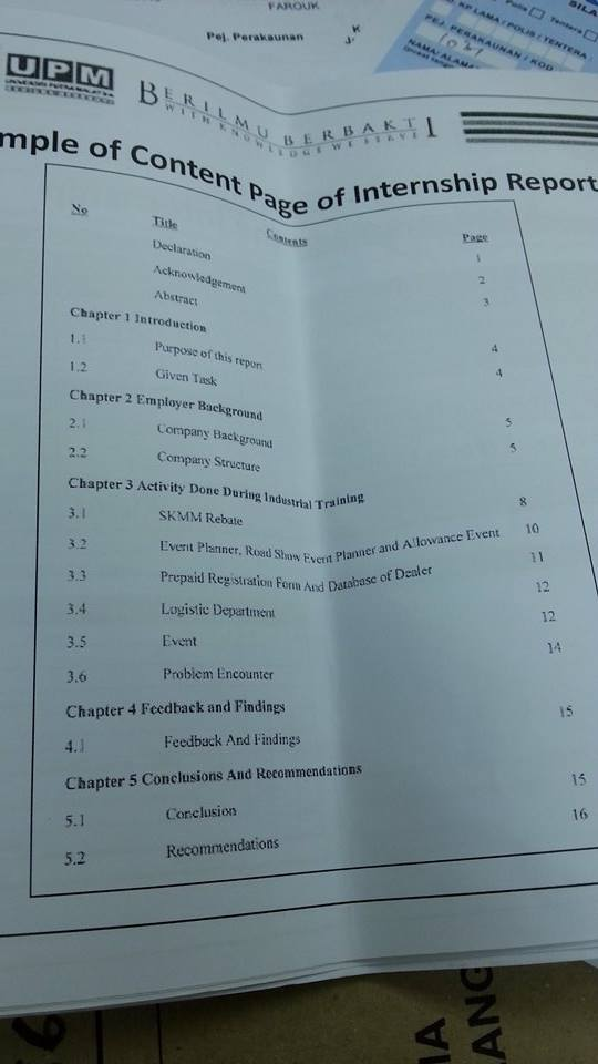 example of content page of internship report