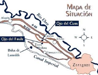mapa situación Balsa de Larralde Ojo del Cura Ojo del Fraile Zaragoza