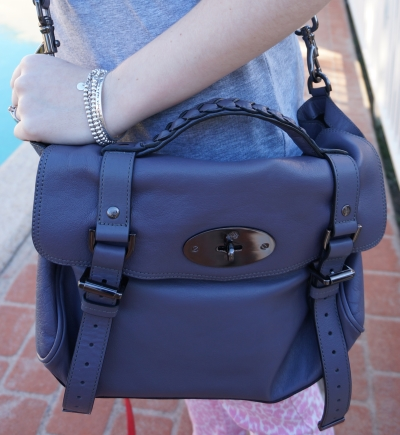Away From the Blue Mulberry Foggy Grey Alexa Bag worn cross body