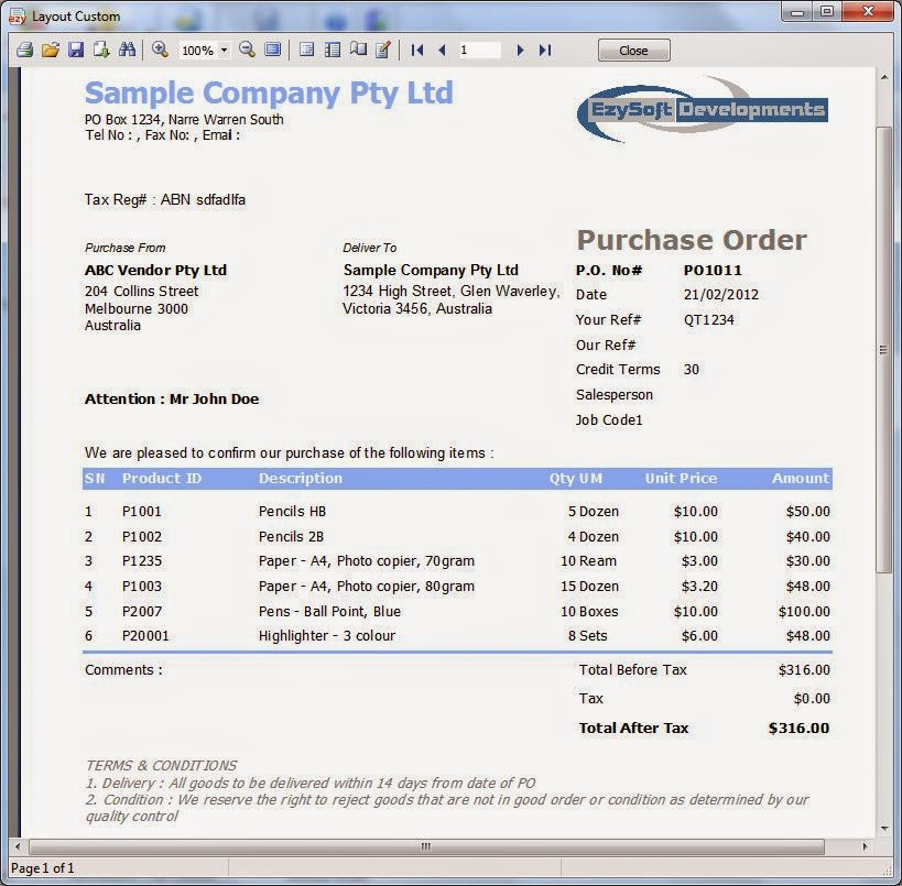 Dillionworld  Local Purchase Order Form