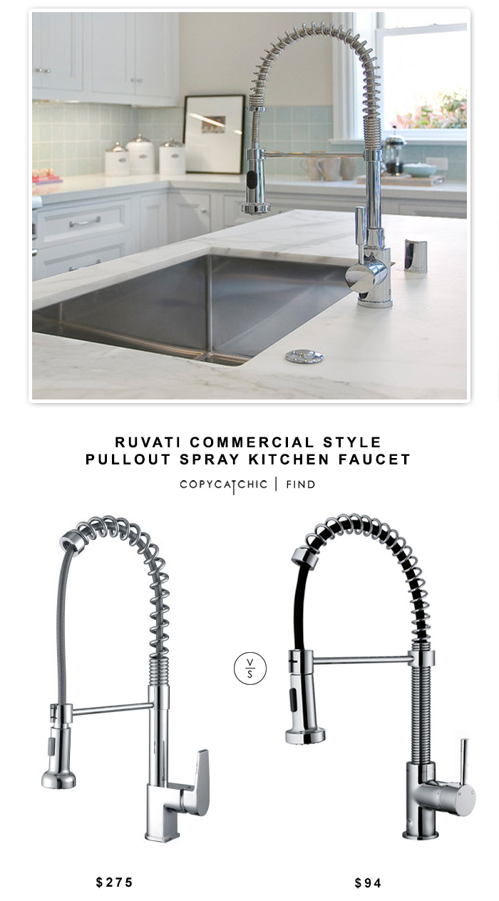 Ruvati commercial style pullout spray kitchen faucet for Industrial style kitchen faucet