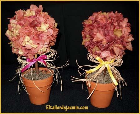 topiarios con hortensias