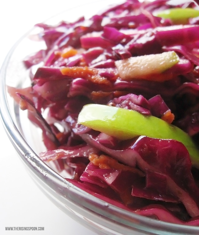 Oil Free Red Cabbage Coleslaw-fresh and crunchy, this slaw is perfect to take to the next BBQ. It's beautiful, feeds a crowd inexpensively, & it's good for you!