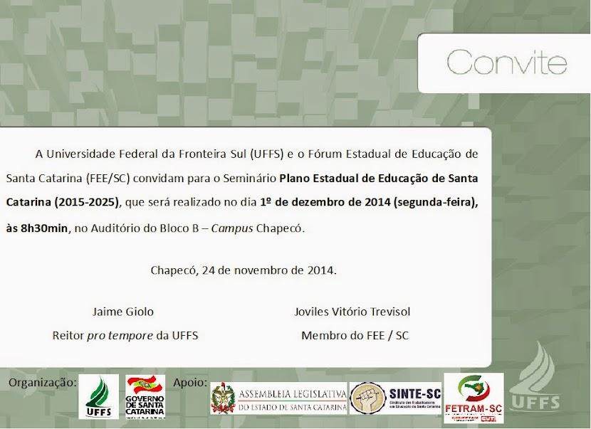 Seminário Plano Estadual de Educação de Santa Catarina
