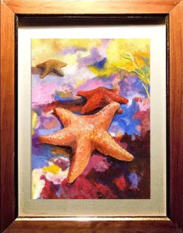 watercolor print of starfish