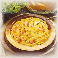 Prato executado com a receita do Espaguete à Carbonara. Receita de massa tradicional italiana