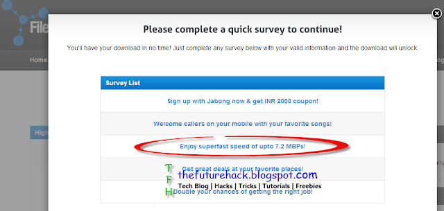 Click on survey stating'Enjoy superfast speed of upto 7.2 MBPs!'
