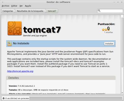Instalando Tomcat 7 a través del gestor de software