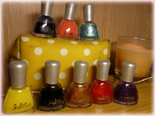Les Lolitas Nail Polish by Cosmod, In Colours: Navy, Peach, Turquoise Tropic, Black, Bronze, Orange, Purple