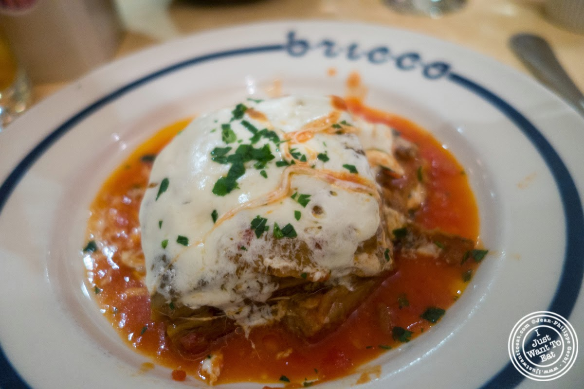 image of baked eggplant and mozzarella at Bricco in Hell's Kitchen, NYC,NY