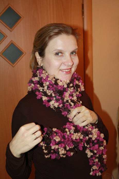 Вязаный шарф cha-cha-cha на 5 петель