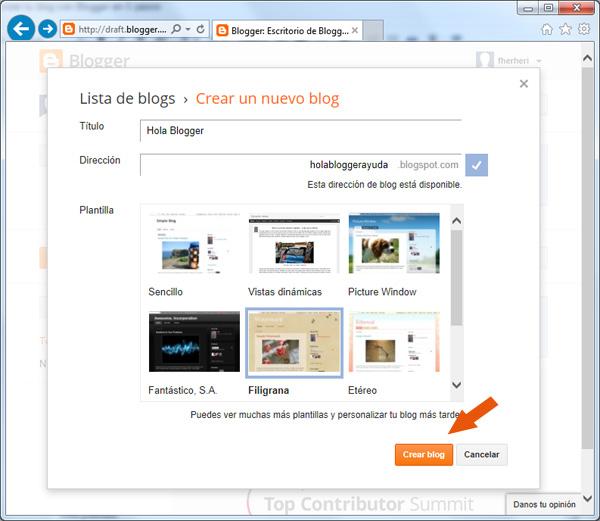 Crear un nuevo blog con Blogger