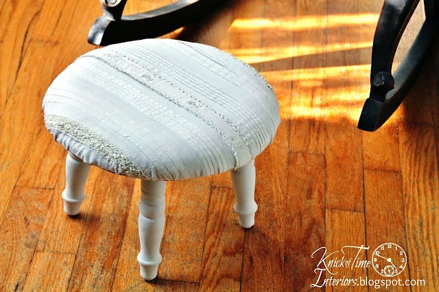 Repurposed Shirt-Upcycled Clothing-Chalk Paint-footstool-by KnickofTimeInteriors.blogspot.com